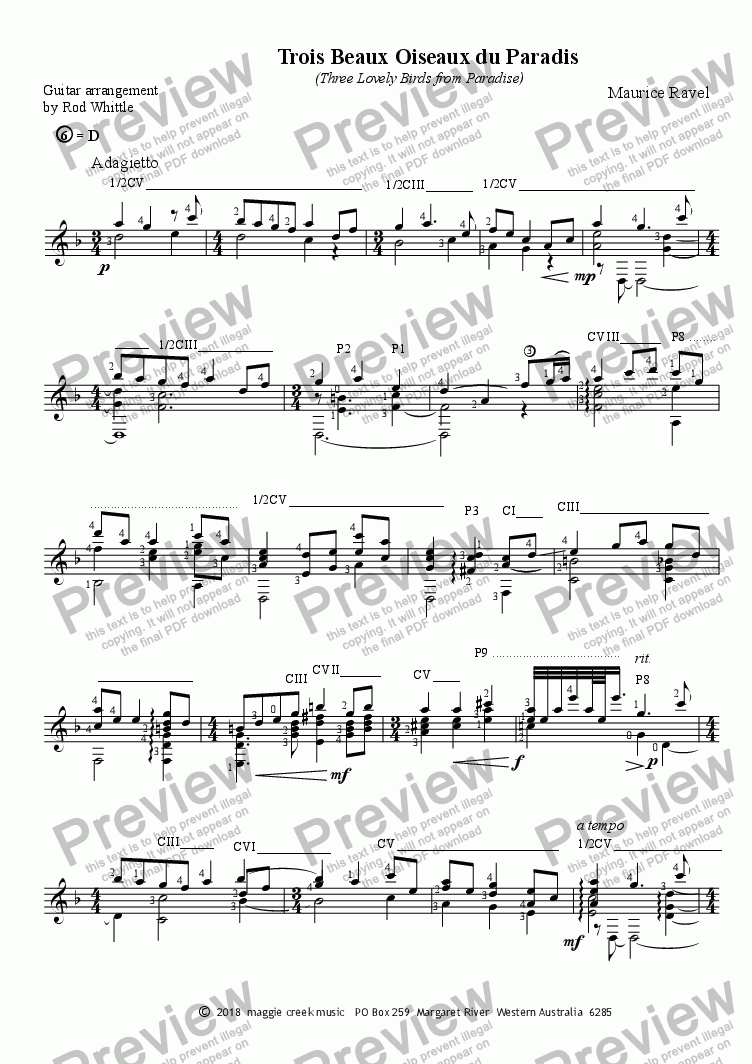Trois Beaux Oiseaux du Paradis (for solo classical guitar) for Solo  instrument (Classical Guitar [notation]) by Maurice Ravel - Sheet Music PDF  file