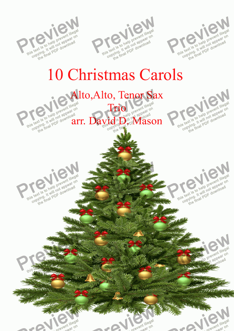 page one of 10 Christmas Carols,   Alto,Alto, Tenor Sax Trio