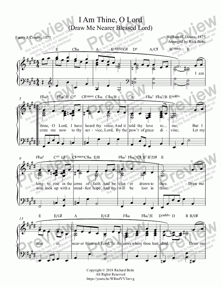 page one of I Am Thine, O Lord - Hymn Piano Solo
