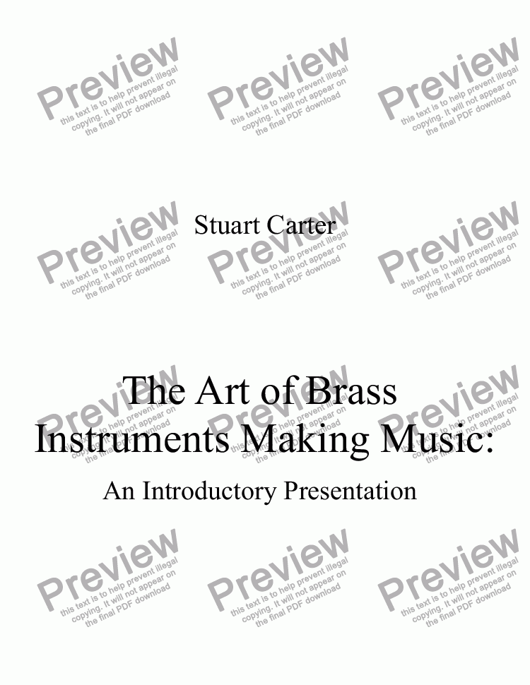 page one of The Art of Brass Instruments: Making Music