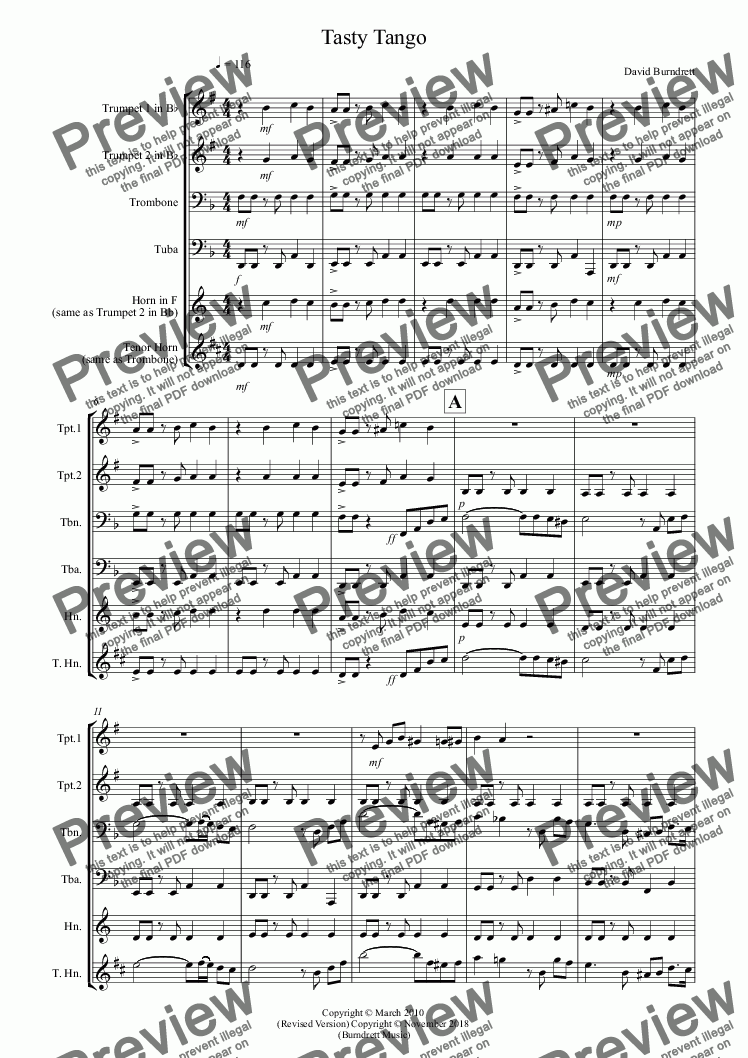 page one of Tasty Tango for Brass Quartet