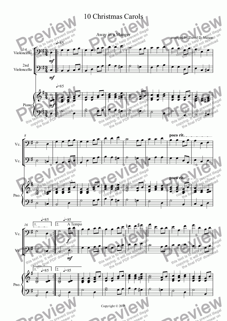 page one of 10 Christmas Carols,    Cello Duet +Piano