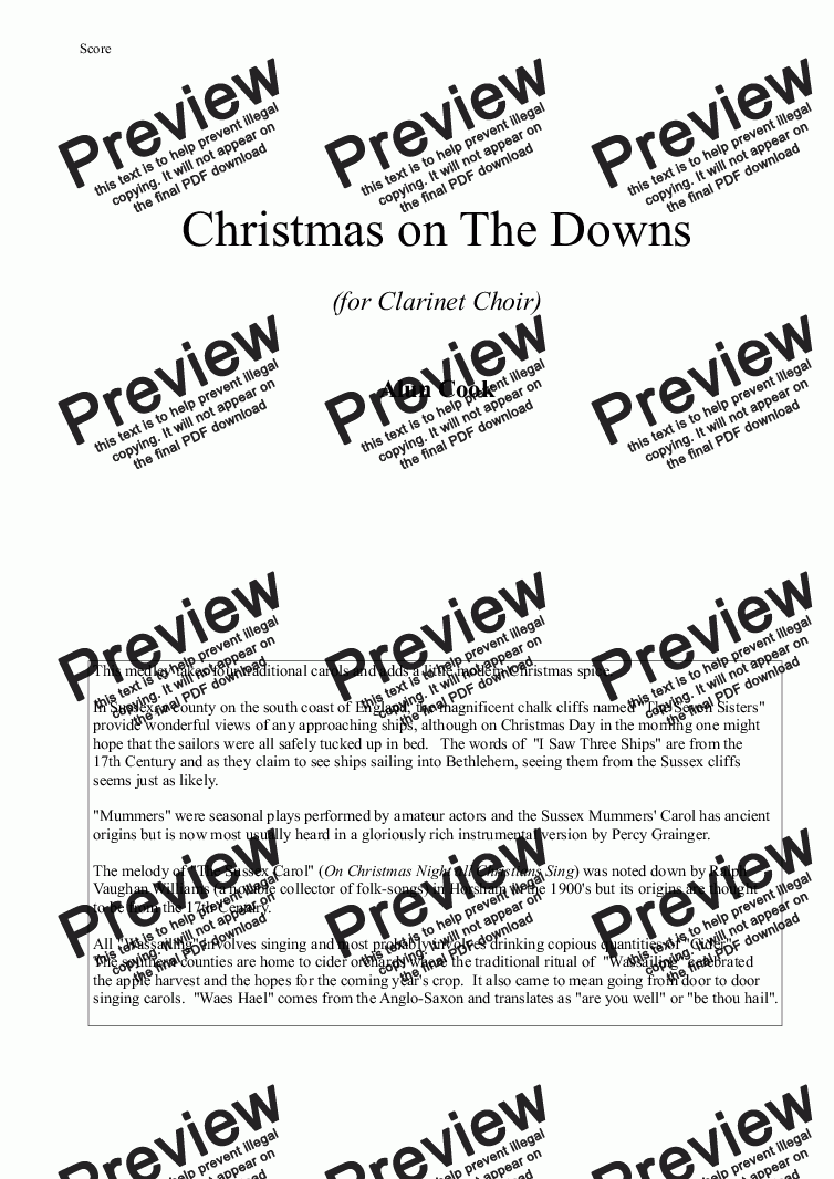 page one of Christmas on The Downs (Clarinet Choir)