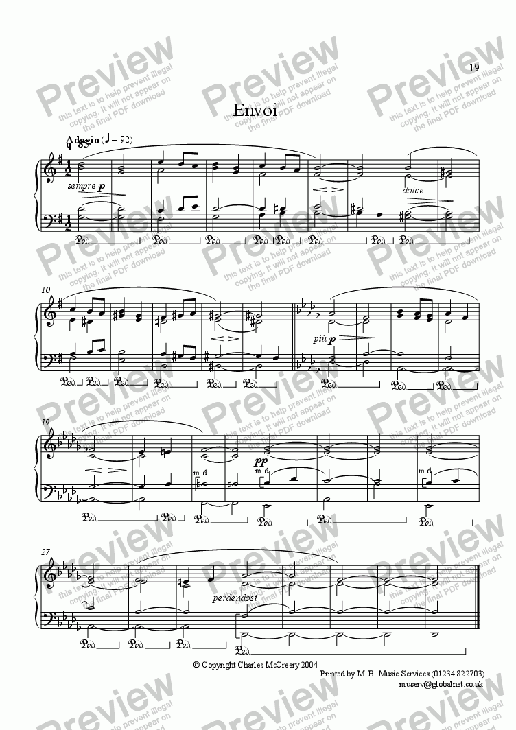 page one of Envoi, from Ten Short Easy Piano PiecesASALTTEXT