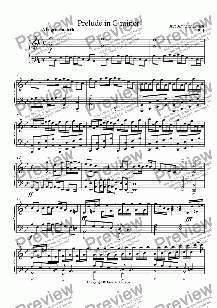 page one of Prelude in G minor, E.1