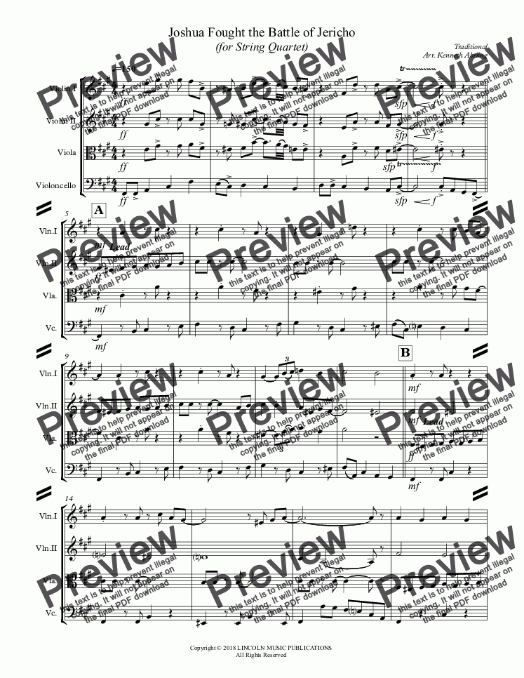 page one of Joshua Fought the Battle of Jericho (for String Quartet)