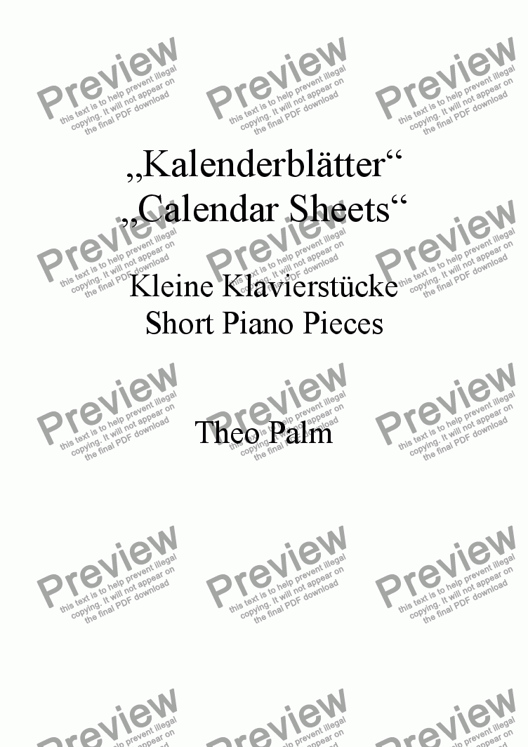 page one of Kalenderblätter - Calendar Sheets