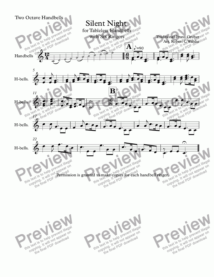 page one of Small Handbell Choir: Silent Night for Two Octave Handbells