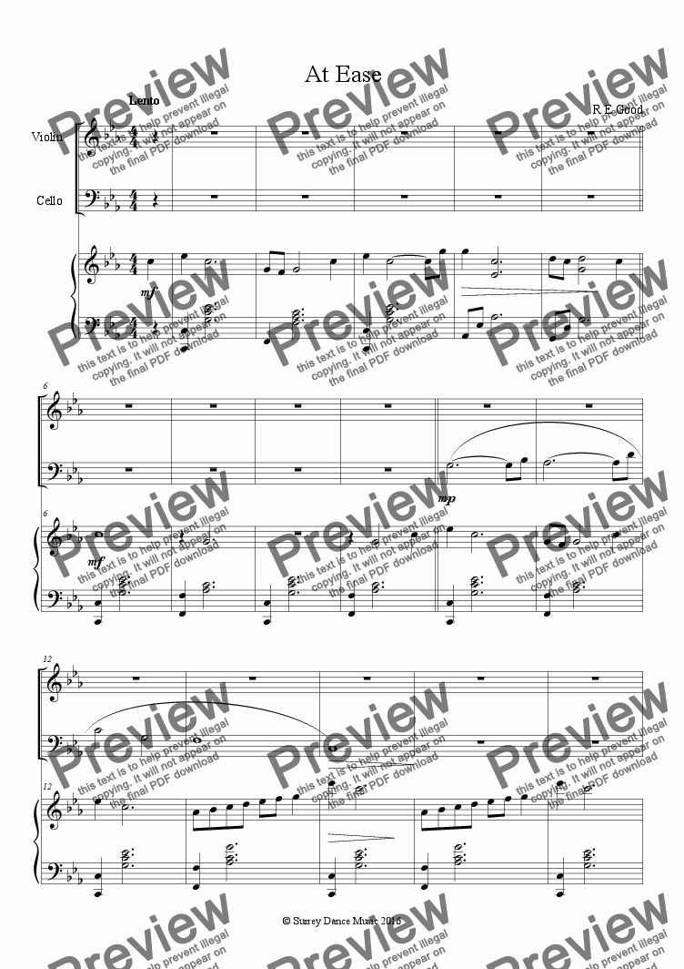 page one of At Ease (piano trio)
