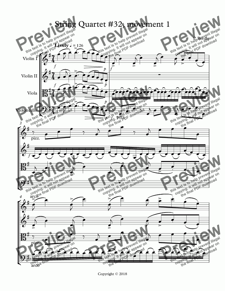 page one of String Quartet #32, movement 1