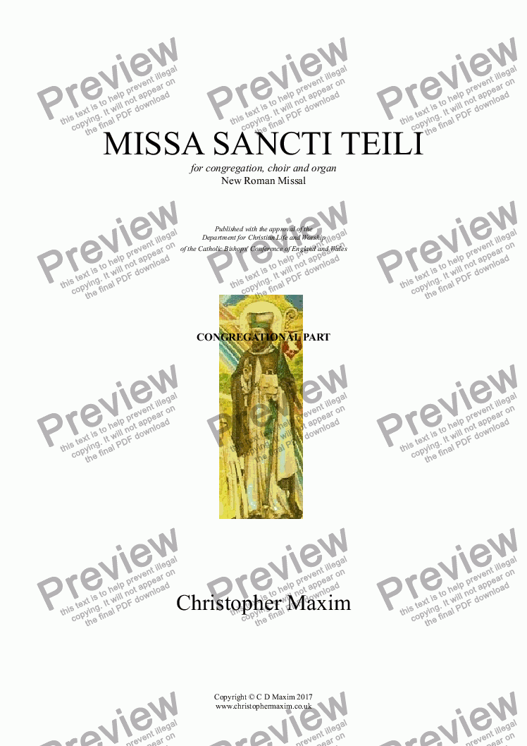 page one of MISSA SANCTI TEILI (New Roman Missal) CONGREGATION CARD