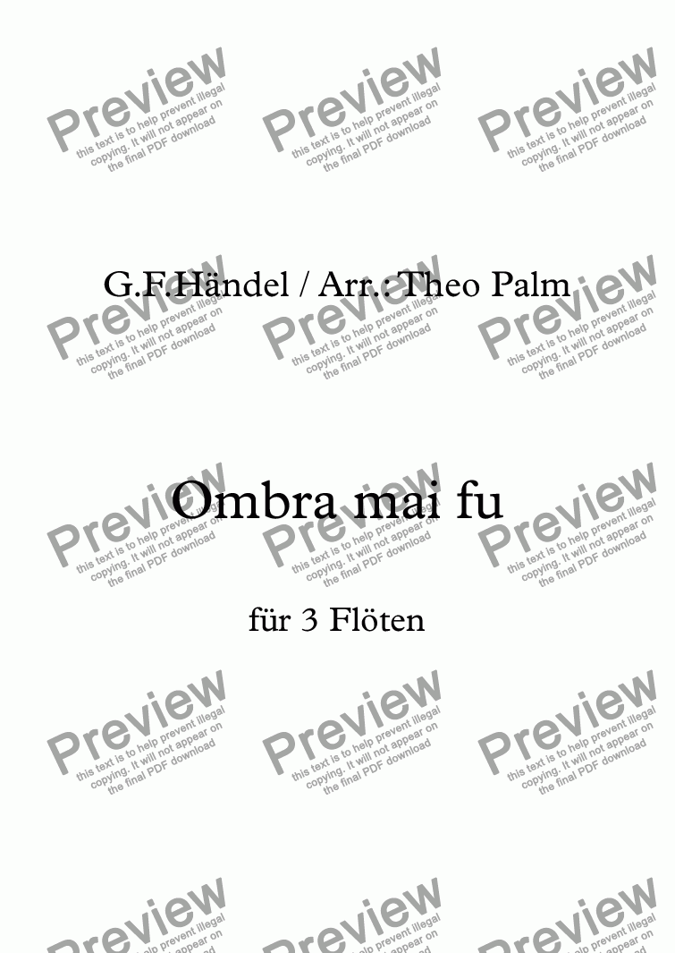 page one of Ombra mai fu