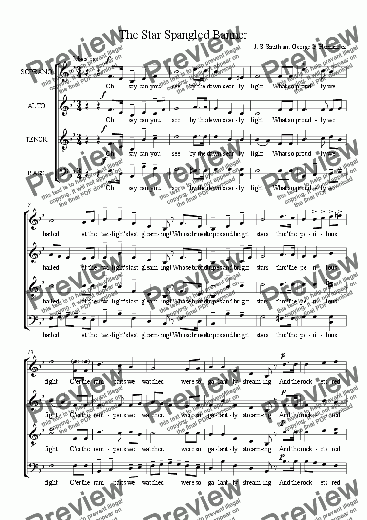 page one of The Star Spangled Banner