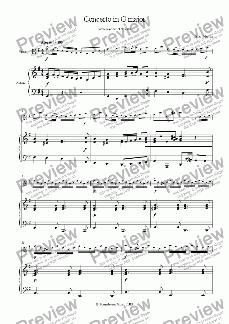 page one of Concerto in G Major in the manner of VivaldiASALTTEXT