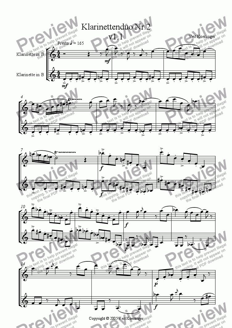 page one of Clarinet duo 2