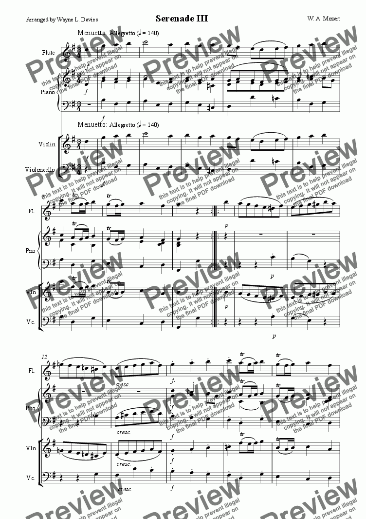 page one of Serenade - mov III