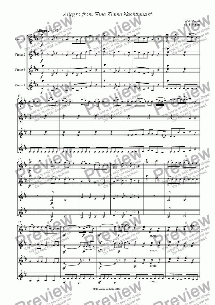 page one of Allegro from 'Eine Kleine Nachtmusik' - Violin Quartet
