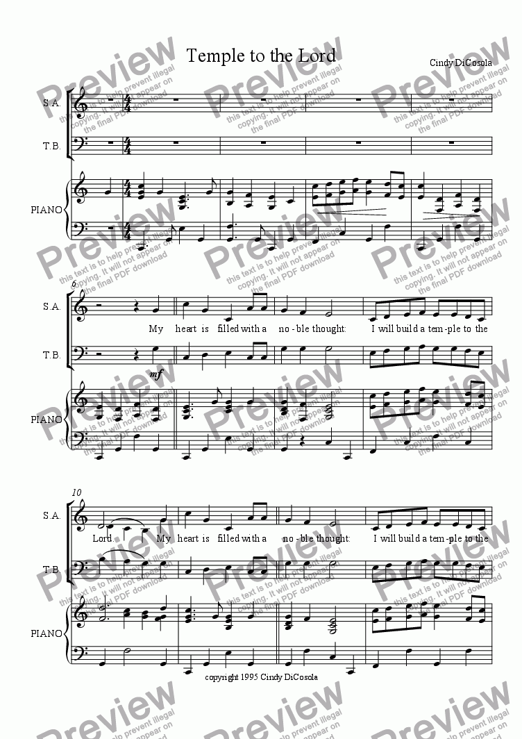 page one of Temple to the Lord - SATB