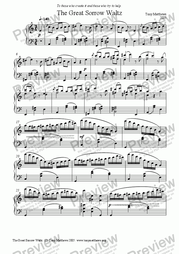 page one of The Great Sorrow Waltz