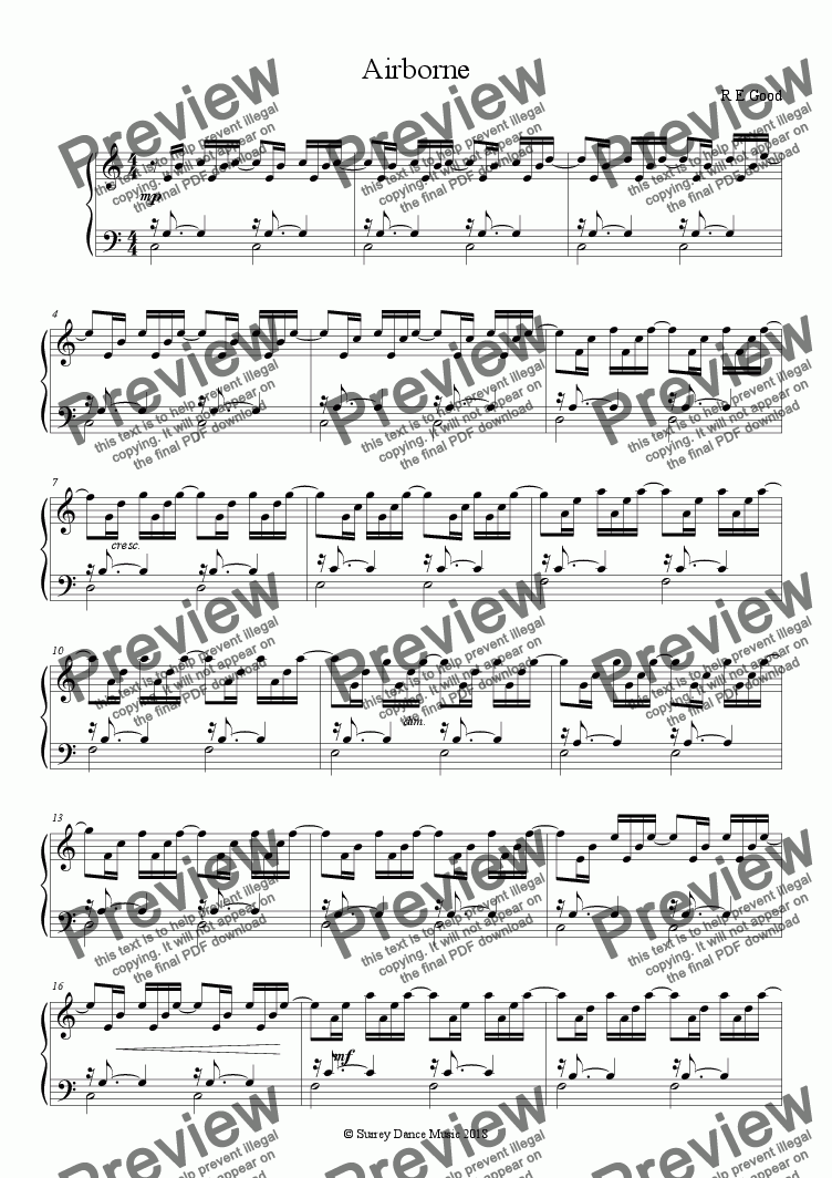 page one of Airborne (study based on J.S.Bach Prelude in C)