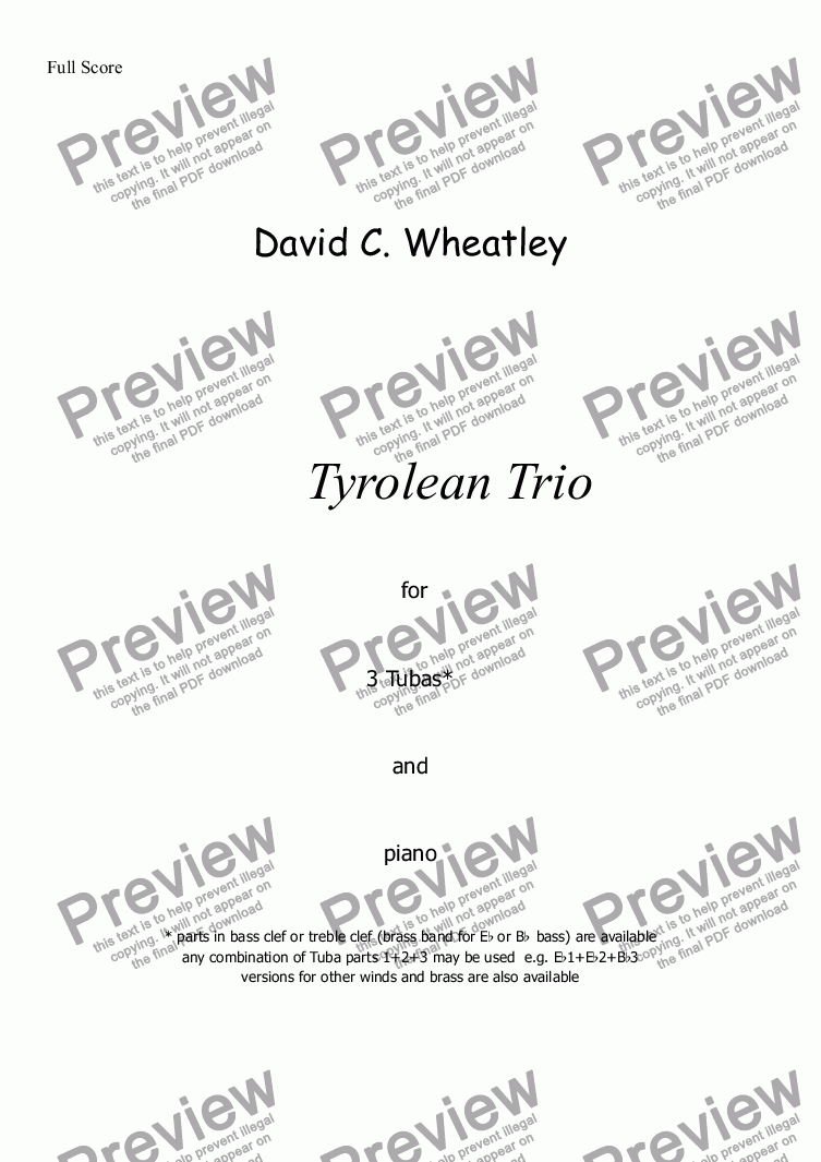 page one of Tyrolean Trio for 3 tubas and piano by David Wheatley