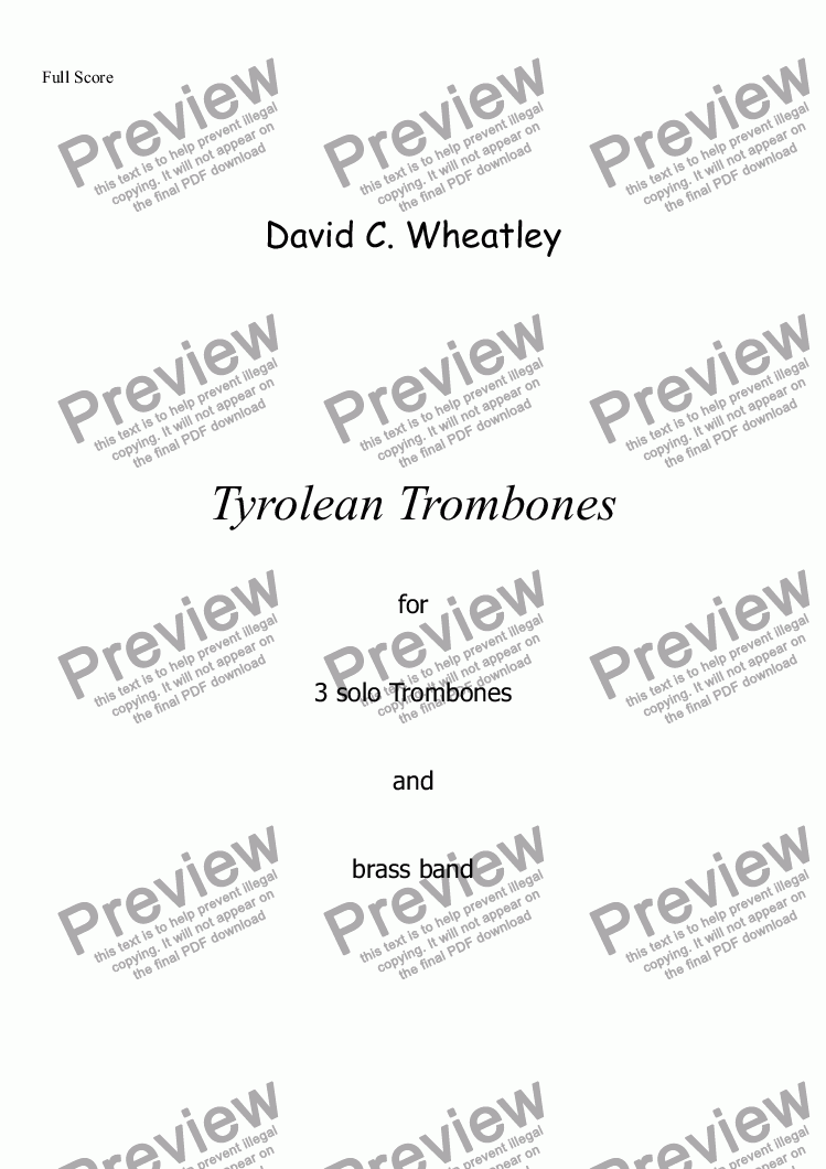 page one of Tyrolean Trombones for 3 solo trombones and brass band by David Wheatley