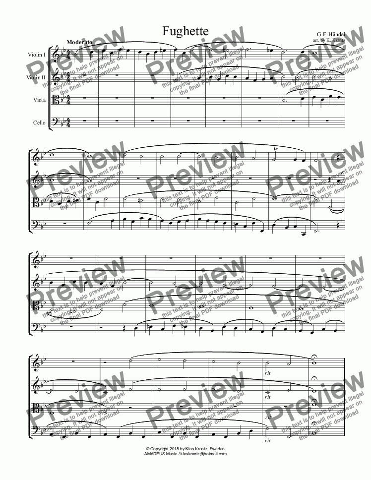 page one of Fughette for string quartet