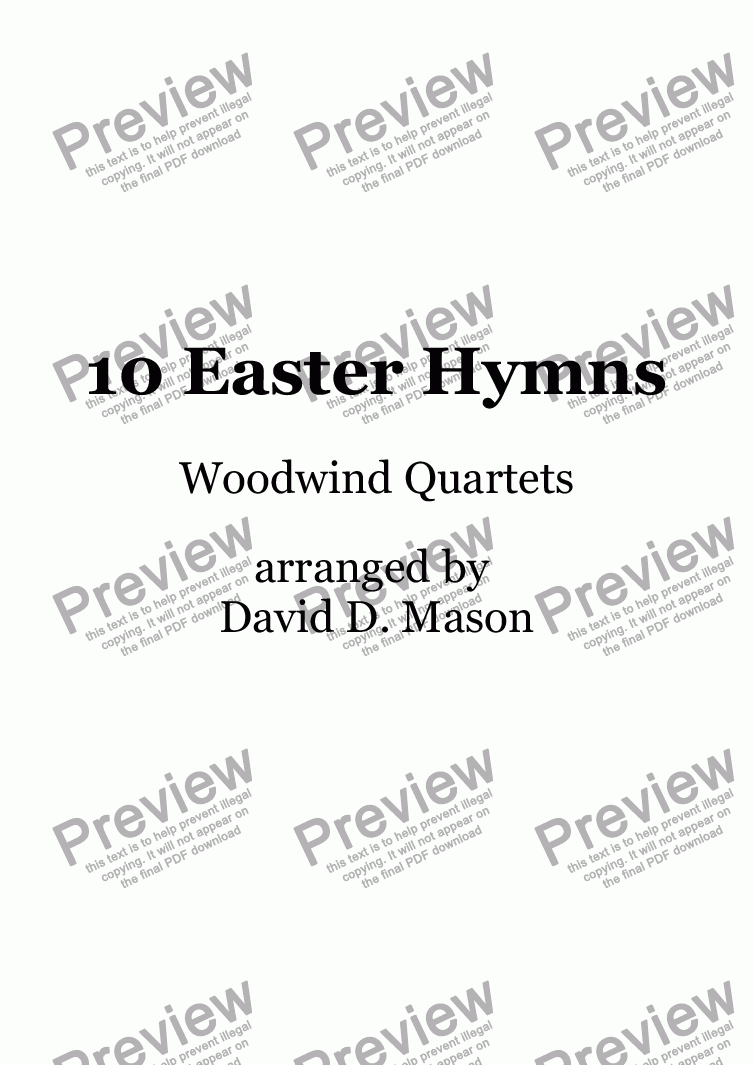 page one of 10 Easter Hymns, for Woodwind Quartet +Piano accompaniment