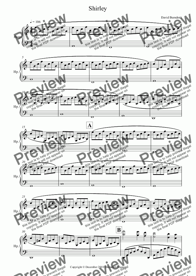 page one of Shirley for Piano/Harp (Harps)