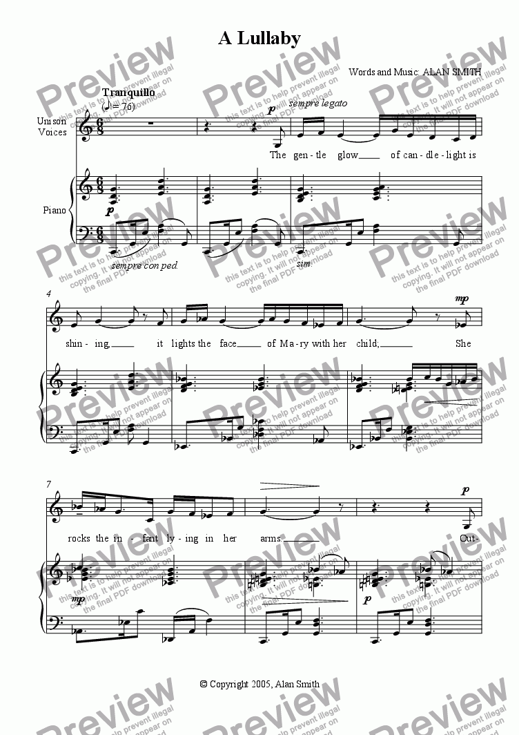 page one of Lullaby (vocal arrangement)