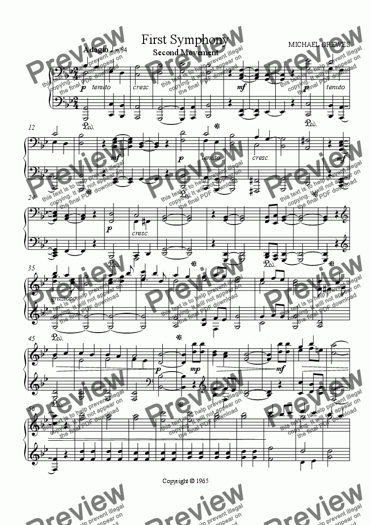 page one of Symphony No. 1, Movement 2 (Piano Reduction)