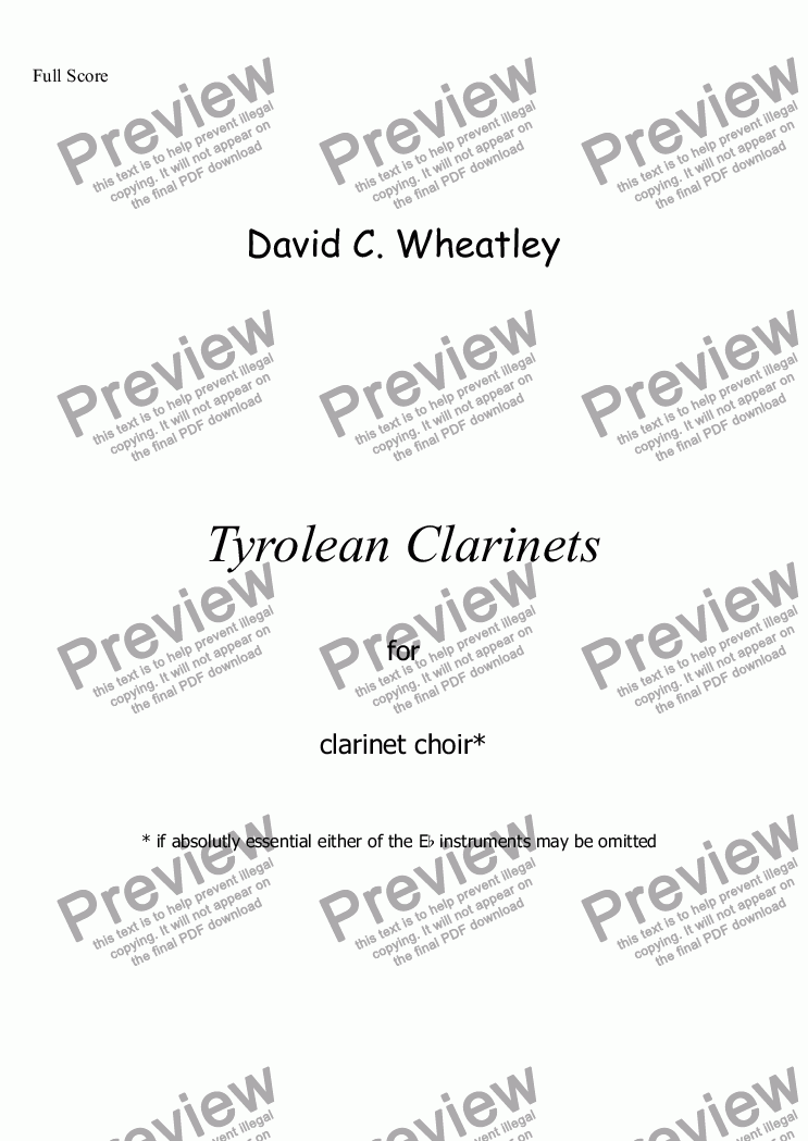 page one of Tyrolean clarinets for clarinet choir by David Wheatley