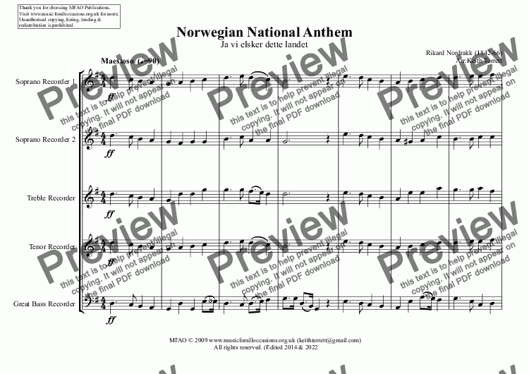 page one of Norwegian National Anthem for Recorder Consort
