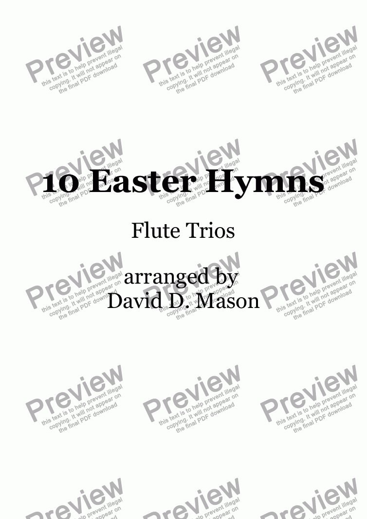 page one of 10 Easter Hymns, Flute Trios with piano accompaniment