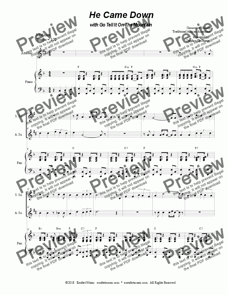 "page one of He Came Down (with ""Go Tell It On The Mountain"") (Duet for Soprano & Alto Saxophone)"