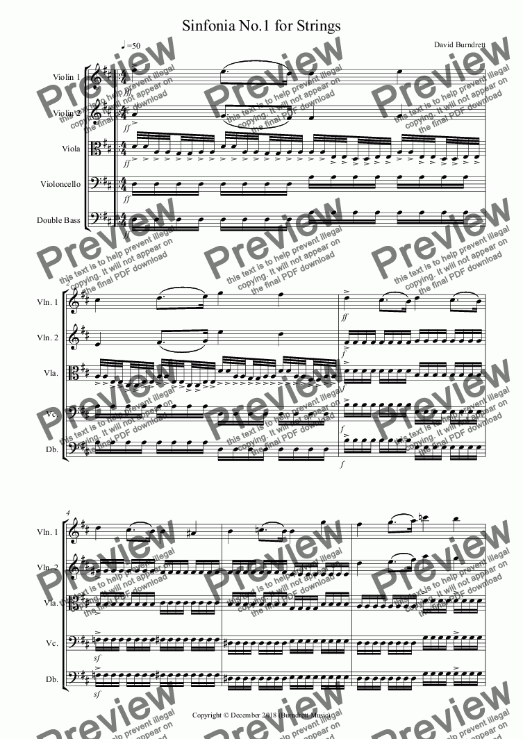 page one of Sinfonia No.1 for String Orchestra
