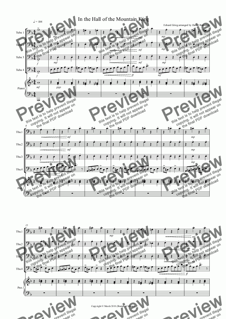 page one of In the Hall of the Mountain King for Tuba Quartet