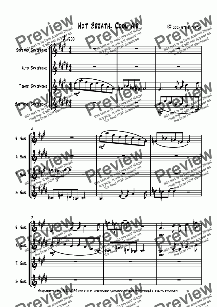 page one of Hot Breath, Cool Air [sax quartet]
