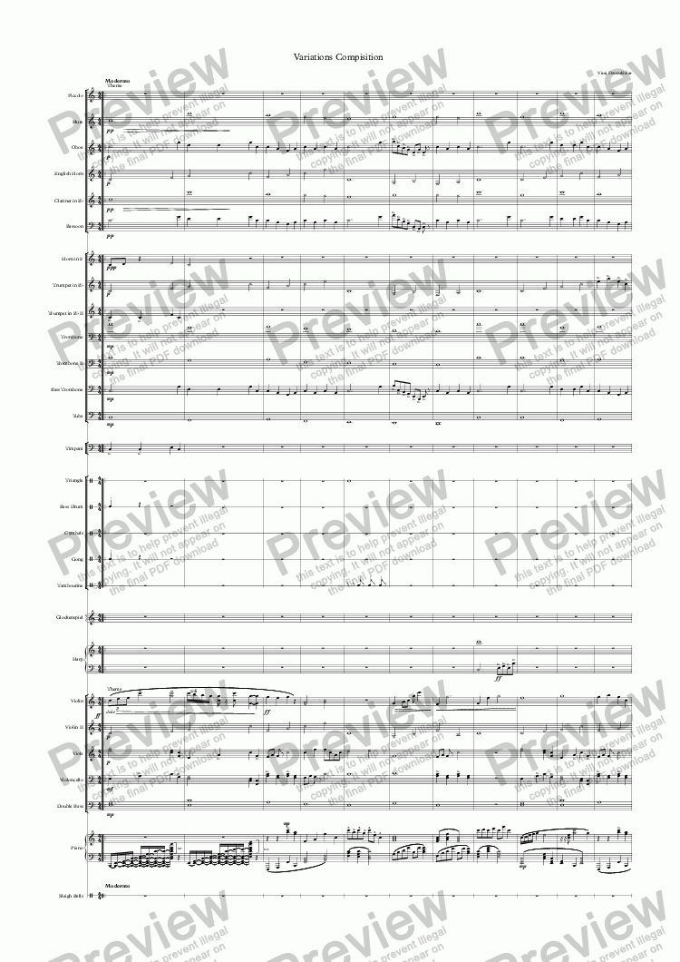 page one of Variations Compisition