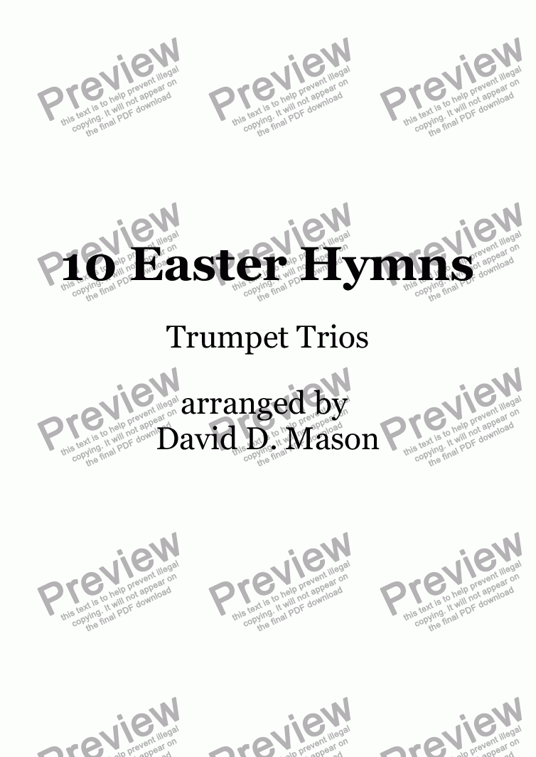 page one of 10 Easter Hymns, Trumpet Trio with piano accompaniment