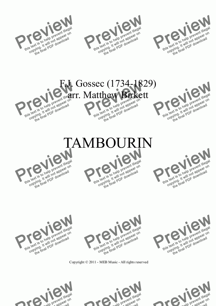 page one of Tambourin