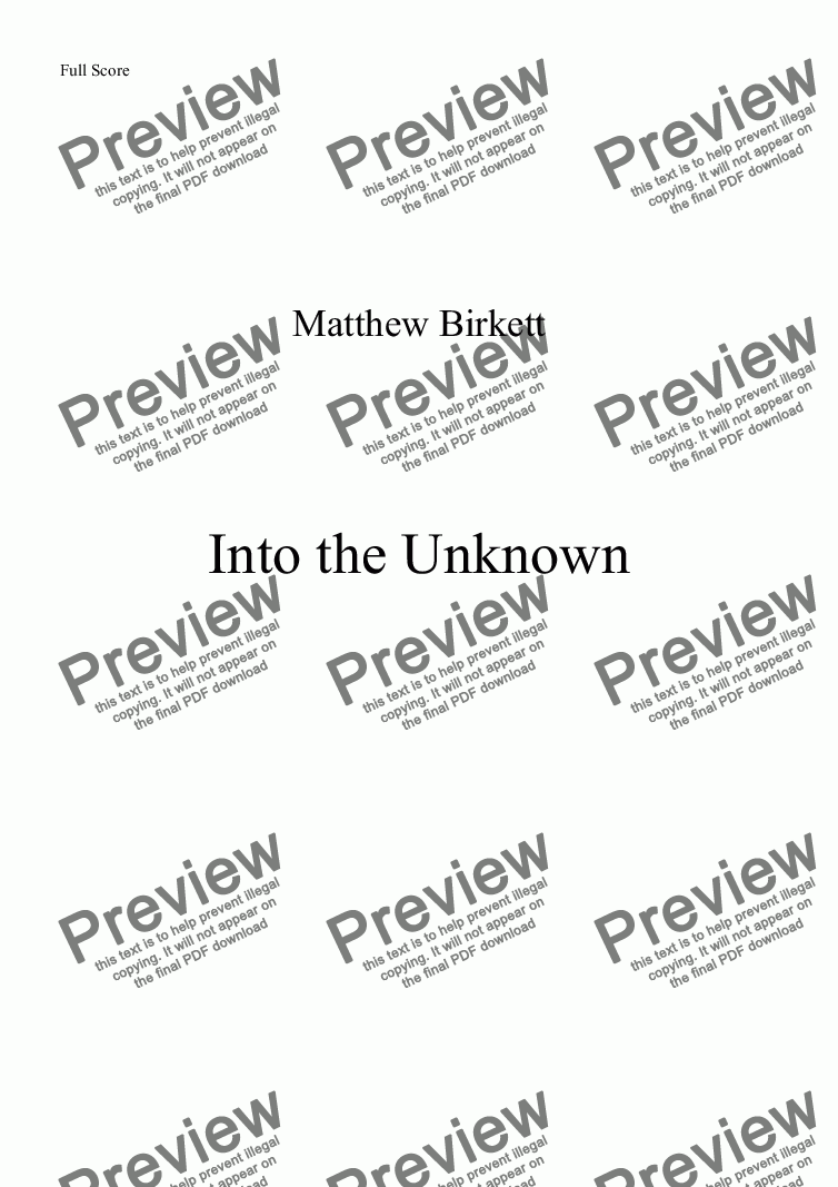 page one of Into The Unknown