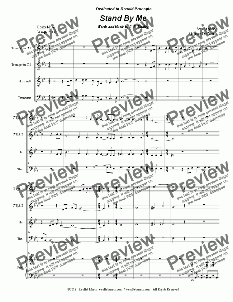 page one of Stand By Me (for Brass Quartet and Piano)