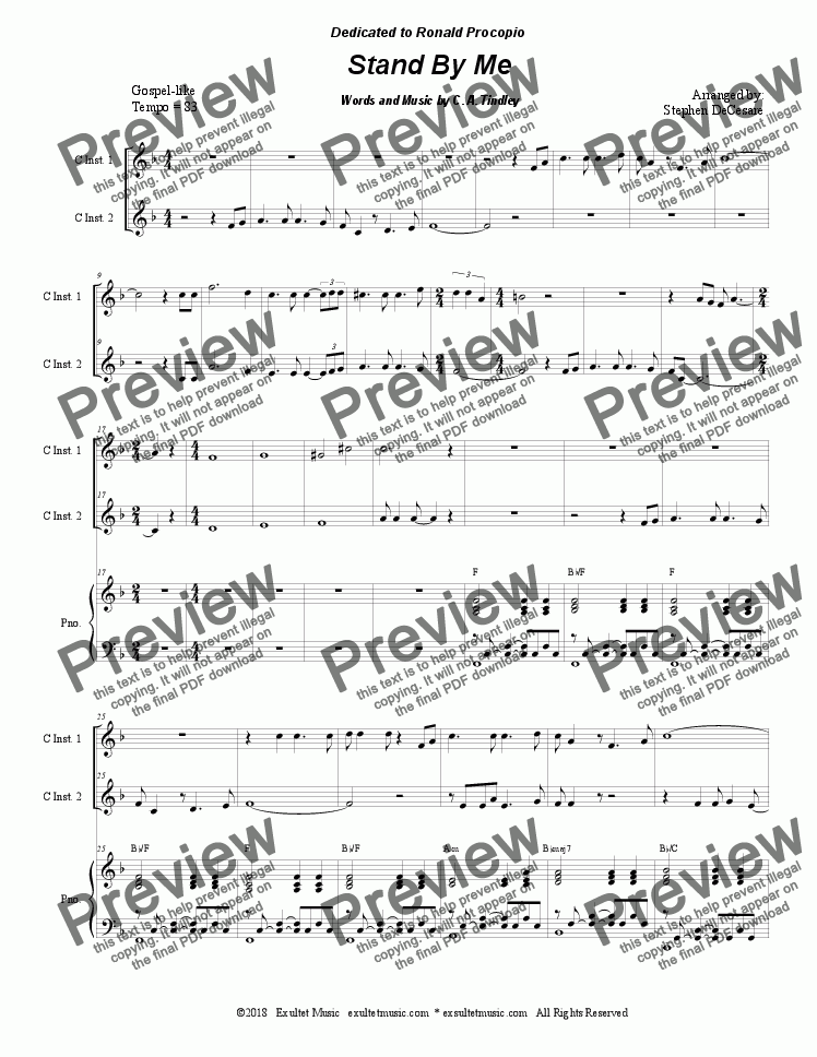 page one of Stand By Me (Duet for C-Instruments)
