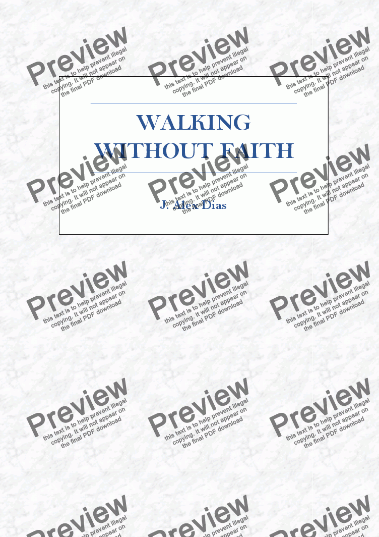 page one of Walking Without Faith