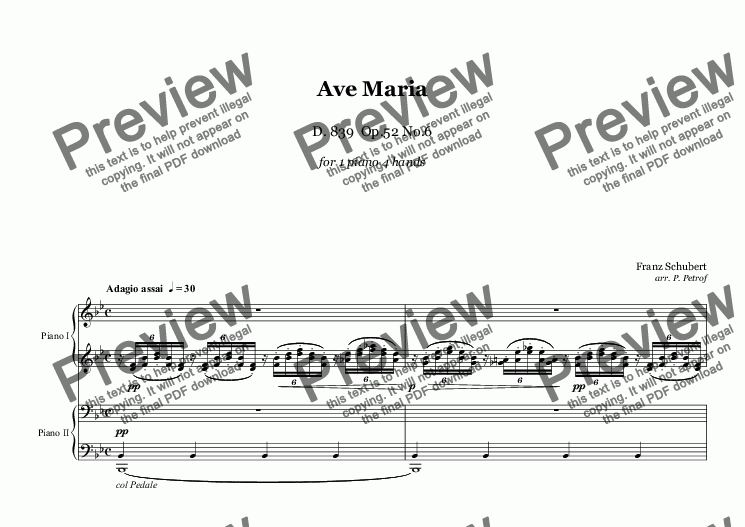 page one of Schubert - AVE MARIA - 1 piano 4 hands