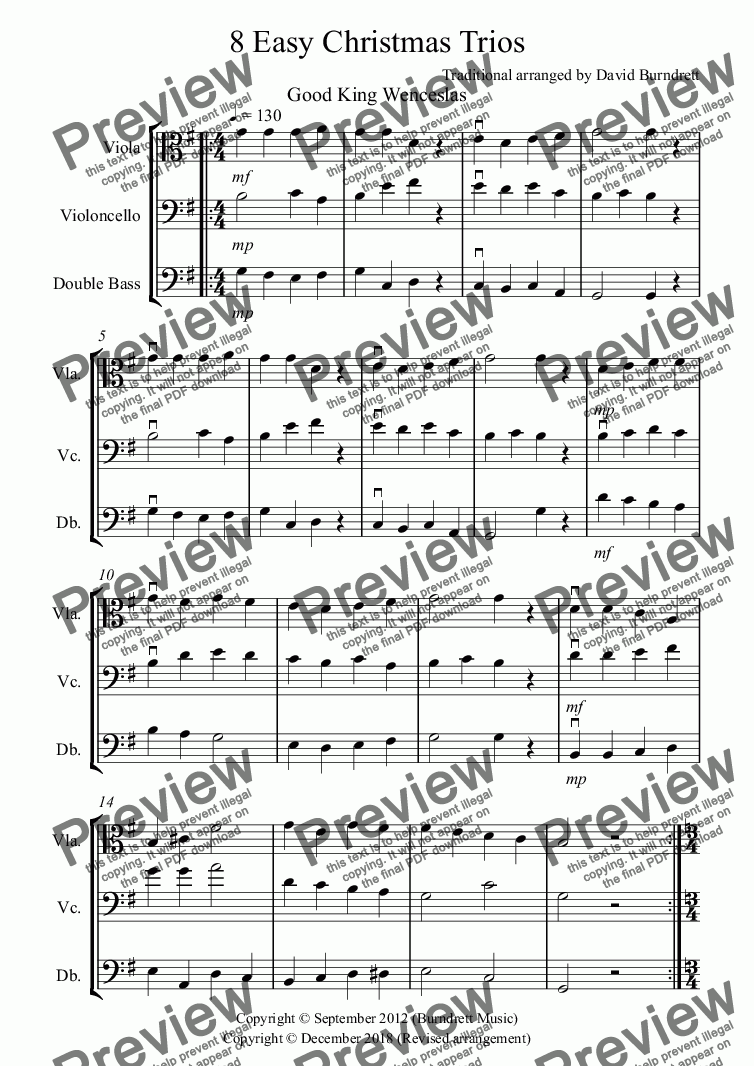 page one of 8 Easy Christmas Trios for Viola, Cello and Double Bass