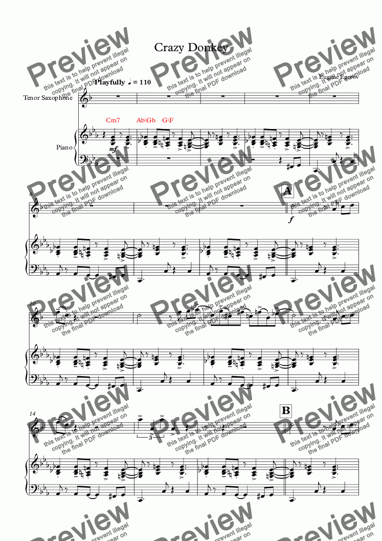 page one of Crazy Donkey (Piano+Tenor Saxophone)