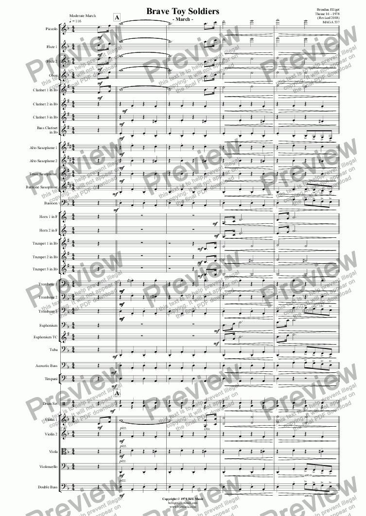 page one of Brave Toy Soldiers  - March - Concert Band/Orchestra
