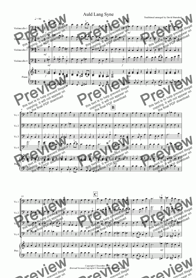 page one of Auld Lang Syne for Cello Quartet